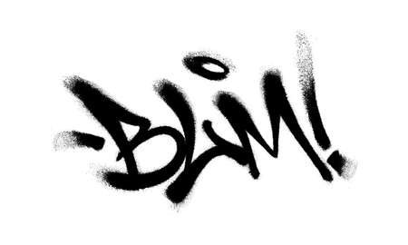 Sprayed BLM font graffiti with overspray in black over white. Vector illustration.