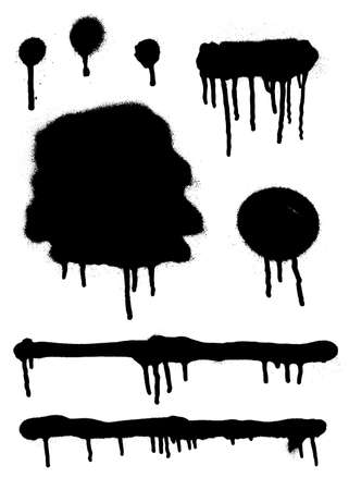 Graffiti spray drips banner set. Abstract graphic spray paint frame.