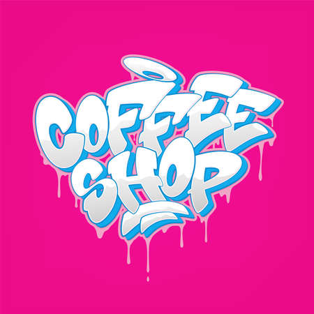Coffee shop font in graffiti style. Vector illustration.