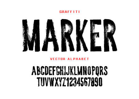 Graffiti marker font design. Hand drawn style geometric alphabet and numbers.