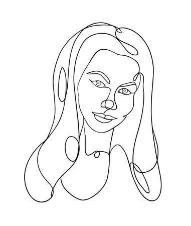 Woman head vector lineart illustration. One line style drawing.