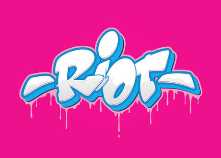 Riot font in graffiti style. Vector illustration.