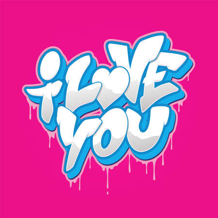 I love you font in graffiti style. Vector illustration.