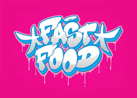 Fast food font in graffiti style. Vector illustration.