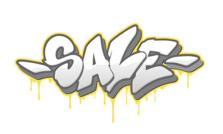Sale font in graffiti style. Vector illustration.