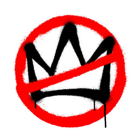 Crossed out sprayed crown with overspray in black over white. Vector illustration. Иллюстрация