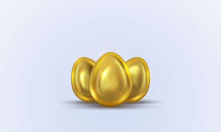 Three golden eggs. Vector illustration for Easter. Иллюстрация