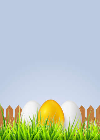 White egg with smiling face painted spray paint.Realistic vector illustration isolated on white background.