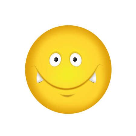 Cheerful emoticon. Smiling face in yellow with vampire fangs. Vector illustration Ilustración de vector