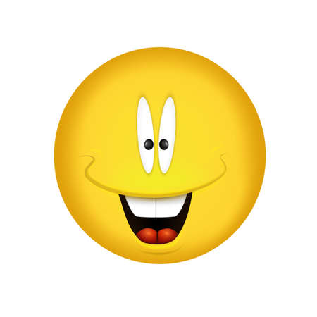 Cheerful emoticon. Smiling face yellow. Vector illustration