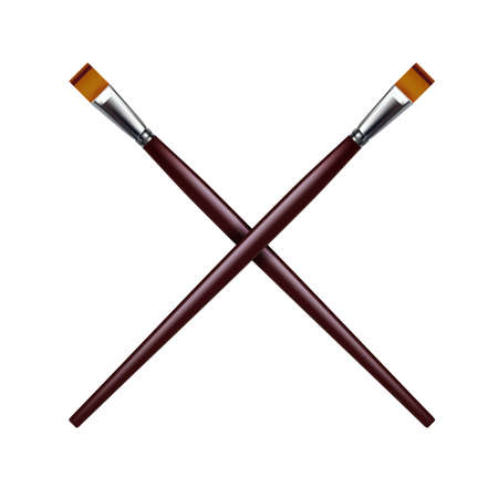 Two crossed paint brushes. Vector illustration on white background Ilustración de vector