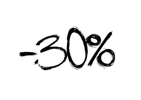 Graffiti lettering discount -30 percent. Vector template on white background