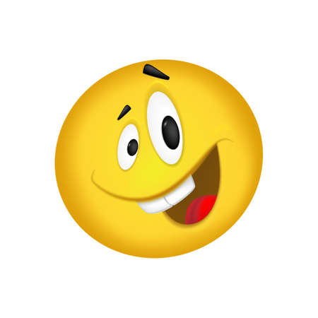 Cheerful emoticon. Smiling face yellow. Vector illustration 向量圖像