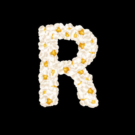 The letter R made up of airy popcorn. Vector illustration