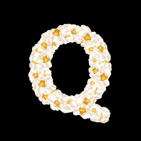The letter Q made up of airy popcorn. Vector illustration