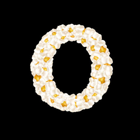 The letter O made up of airy popcorn. Vector illustration 向量圖像