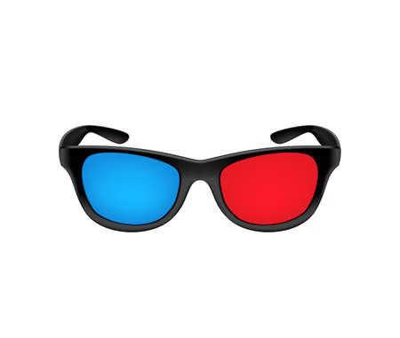 Black plastic 3D glasses for the cinema. Vector illustration