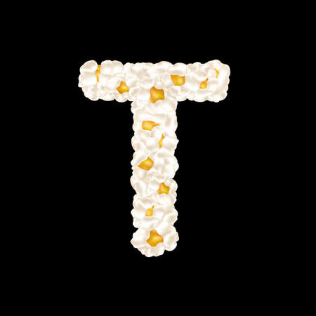 The letter T made up of airy popcorn. Vector illustration