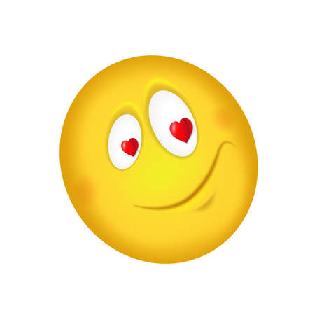 Cheerful enamored emoticon. Eyes with hearts. Vector illustration 向量圖像