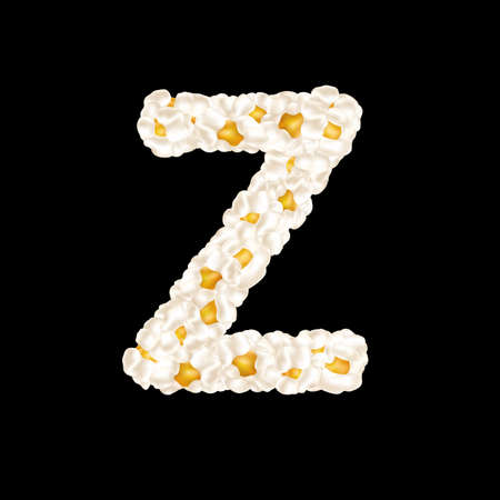 The letter Z made up of airy popcorn. Vector illustration
