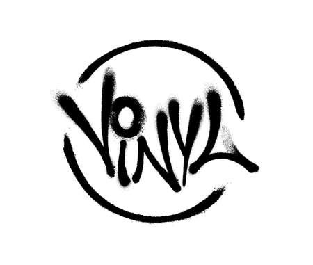 Sprayed vinyl font with overspray in black over white. Vector illustration.