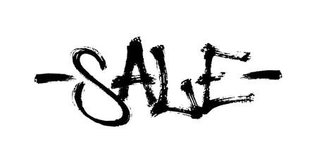 Sprayed sale font with overspray in black over white. Vector illustration.