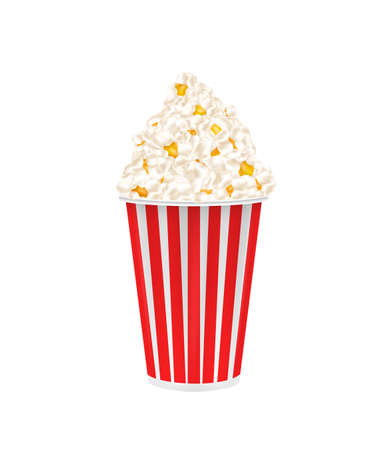 Popcorn in a cardboard cup. Vector image on white background
