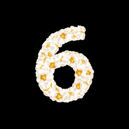The digit 6 made up of airy popcorn. Vector illustration.