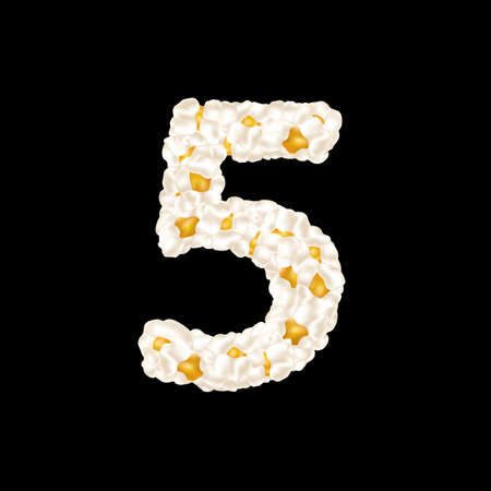 The digit 5 made up of airy popcorn. Vector illustration.