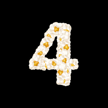The digit 4 made up of airy popcorn. Vector illustration.