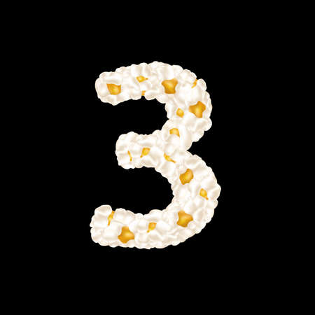The digit 3 made up of airy popcorn. Vector illustration.