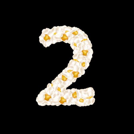 The digit 2 made up of airy popcorn. Vector illustration.