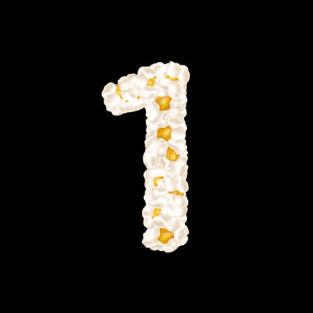 The digit 1 made up of airy popcorn. Vector illustration.