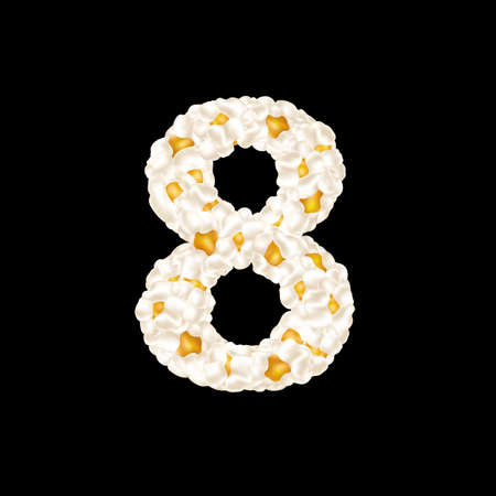The digit 8 made up of airy popcorn. Vector illustration.