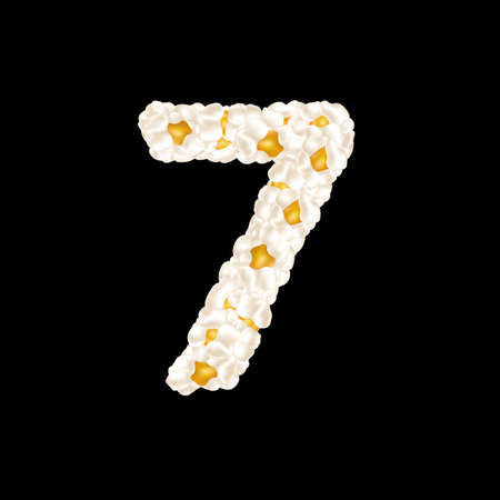 The digit 7 made up of airy popcorn. Vector illustration. 向量圖像