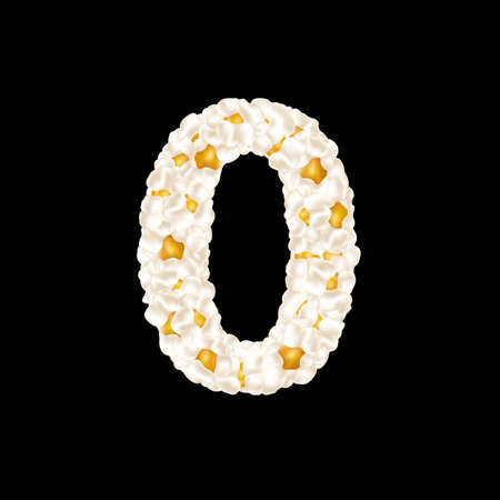 The digit 0 made up of airy popcorn. Vector illustration.