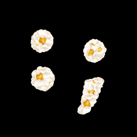 The sign made up of airy popcorn. Vector illustration.