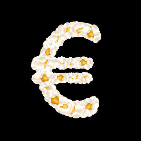 The euro sign made up of airy popcorn. Vector illustration. 向量圖像