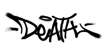 Sprayed death font graffiti with overspray in black over white. Vector illustration.