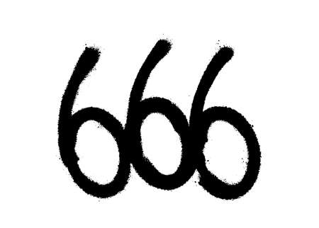 Sprayed 666 font graffiti with overspray in black over white. Vector illustration.