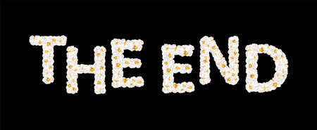 The end lettering consists of airy popcorn. Vector illustration