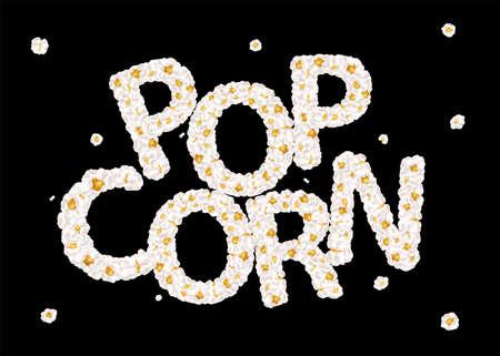 Popcorn lettering consists of airy popcorn. Vector illustration 向量圖像