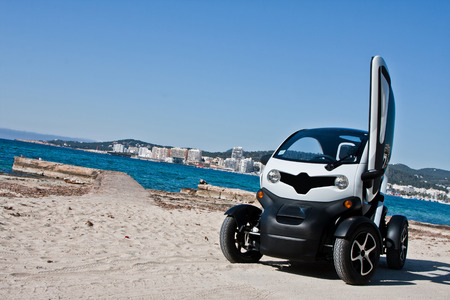 Electric car and beach background