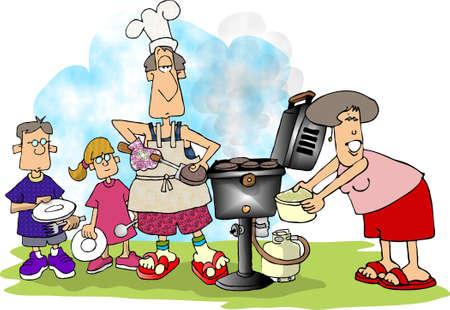 lass: Family BBQ Stock Photo
