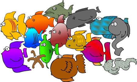 fish school: Fish school Stock Photo
