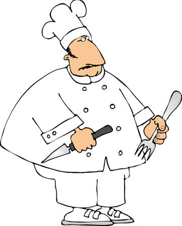 chef knife: Chef with a knife and fork