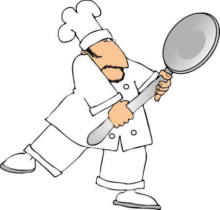 chef caricatura: Chef con una cuchara gigante  Foto de archivo
