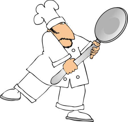 cartoon chef: Chef with a giant spoon