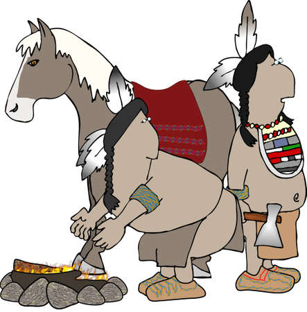 Two Indian braves and a pony