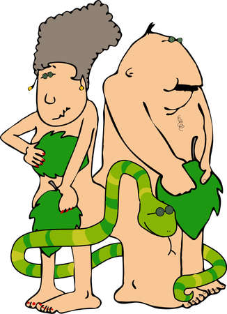 lass: Adam & Eve with a snake
